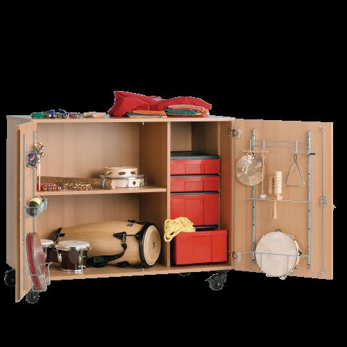 Zweitüriger Musikschrank mit InBox Container, Mittelwand & fahrbar