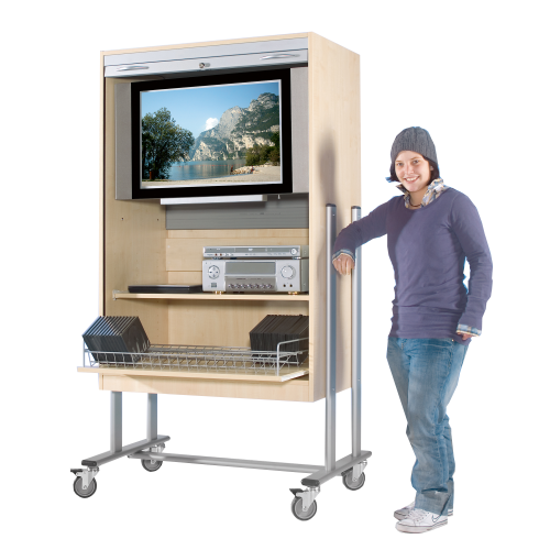 TV-Wagen mit Rollo, 1 Rollauszug & Fach