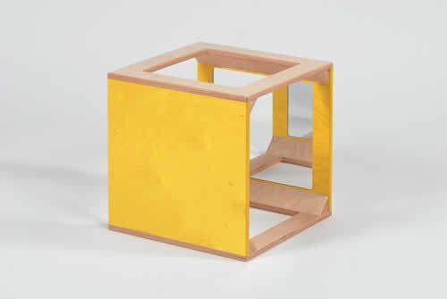 Würfel mit Spiegel gelb